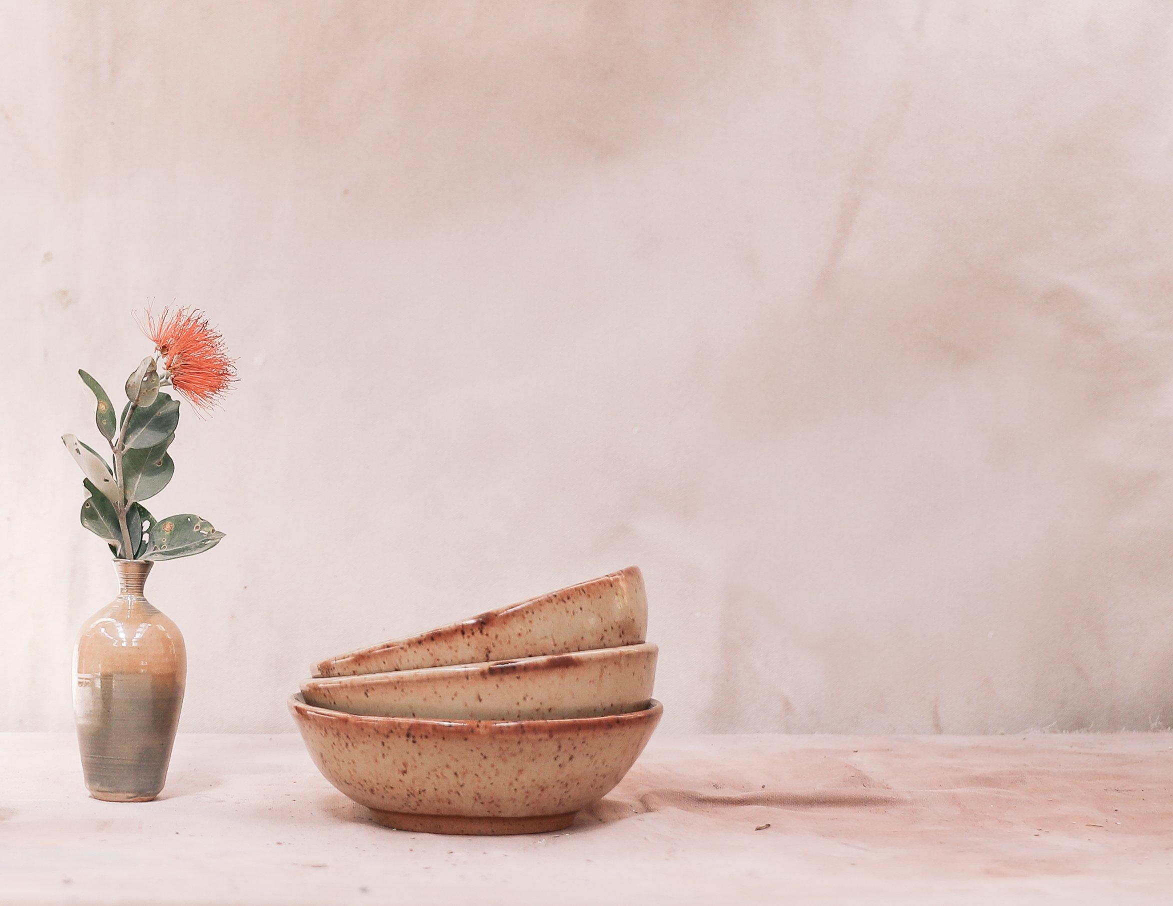 vase pottery bowls nesting shino