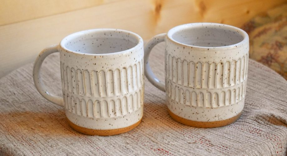 carved column mug